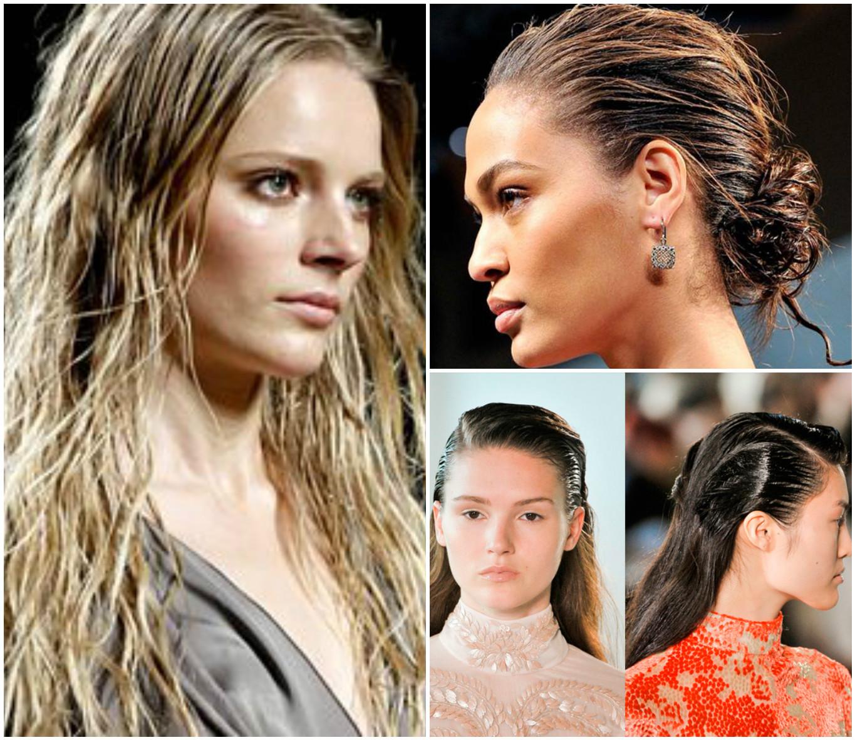 Прически с мокрым эффектом волос